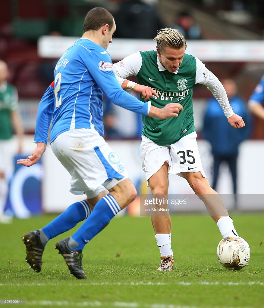 Jason Cummings of Hibernian shoots at goal during the Scottish League Cup Semi final match between Hibernian and St Johnstone at Tynecastle Stadium on January 30, 2016 in Edinburgh, Scotland.