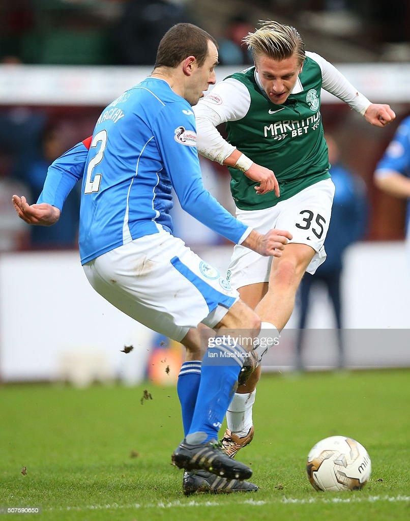 Jason Cummings of Hibernian shoots at goal during the Scottish League Cup Semi final match between Hibernian and St Johnstone at Tynecastle Stadium on January 30, 2016 in Edinburgh, Scotland.
