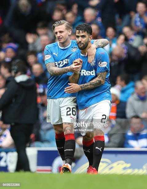 Jason Cummings of Rangers celebrates after scoring his team's first goal during the Ladbrokes Scottish Premiership match between Rangers and Hearts...