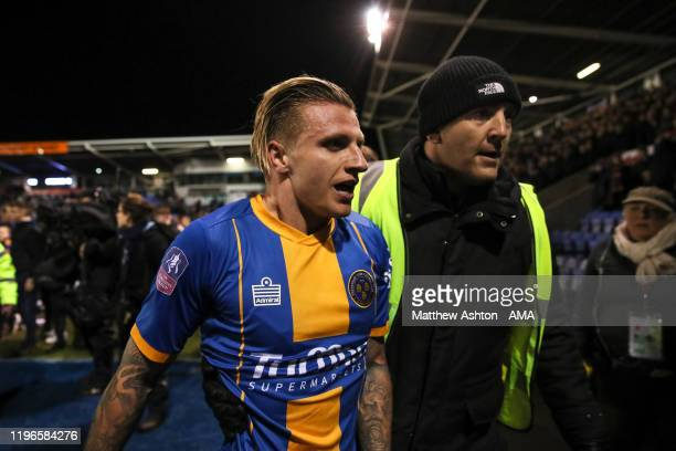 Jason Cummings of Shrewsbury Town at full time during the FA Cup Fourth Round match between Shrewsbury Town and Liverpool at New Meadow on January 26...