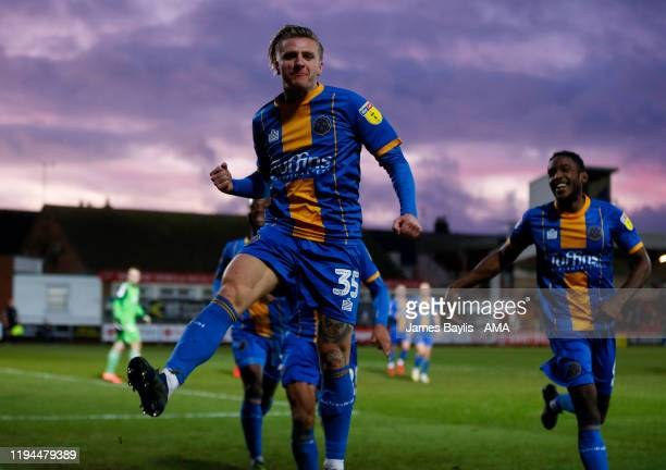 Jason Cummings of Shrewsbury Town celebrates after scoring a goal to make it 12 during the Sky Bet League One match between Fleetwood Town and...