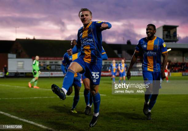 Jason Cummings of Shrewsbury Town celebrates after scoring a goal to make it 1-2 during the Sky Bet League One match between Fleetwood Town and...