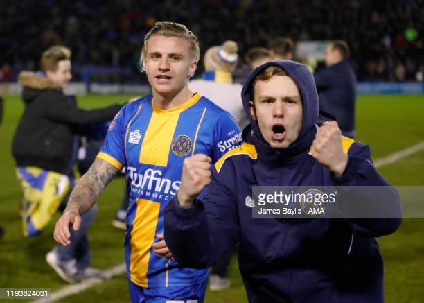 Jason Cummings of Shrewsbury Town celebrates at full time after the FA Cup Third Round Replay match between Shrewsbury Town and Bristol City at New...