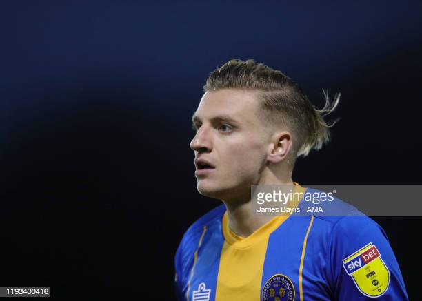 Jason Cummings of Shrewsbury Town during the Sky Bet League One match between Shrewsbury Town and Lincoln City at Montgomery Waters Meadow on January...