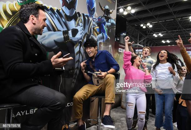 Jason David Frank of the Mighty Morphin Power Rangers and Peter Sudarso of the cast Power Rangers Ninja Steel attend the Saban's Power Rangers Legacy...