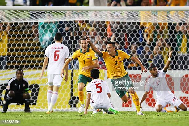 Jason Davidson of Australia celebrates after scoring a goal during the Asian Cup Semi Final match between the Australian Socceroos and the United...