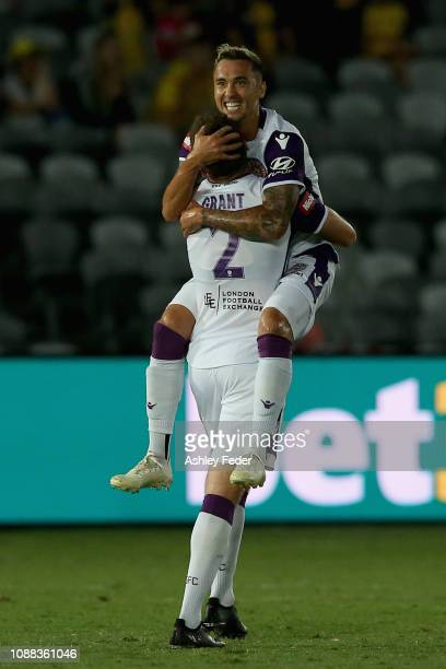 Jason Davidson of Perth Glory celebrates his goal during the round 10 ALeague match between the Central Coast Mariners and the Perth Glory at Central...