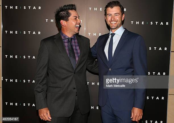 Jason Day and Adam Scott arrive at the official launch of the 2013 Australian Open at The Star on November 26 2013 in Sydney Australia