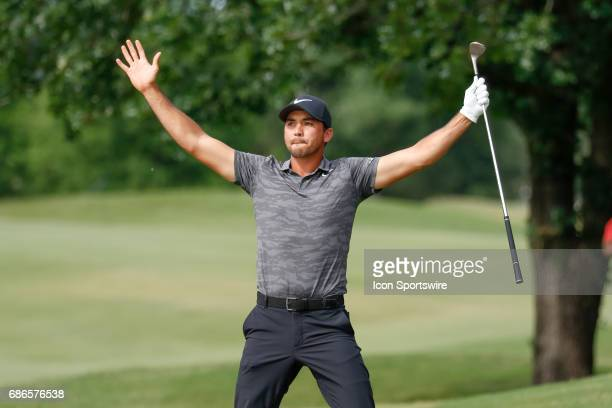 Jason Day chips in from the green side rough on during the final round of the AT&T Byron Nelson on May 21, 2017 at the TPC Four Seasons Resort in...