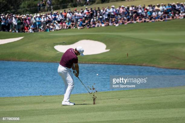 Jason Day hits his approach to the final hole at Round 1 of the 102nd Australian Open Golf Championship on November 23 2017 at The Australian Golf...