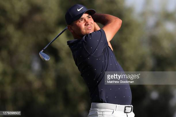 Jason Day hits his tee shot on the 14th hole during round two of the Shriners Hospitals For Children Open at TPC Summerlin on October 09, 2020 in Las...