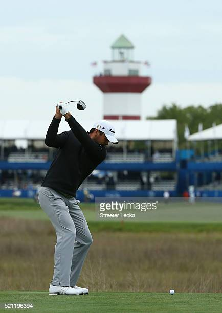 Jason Day hits his tee shot on the 18th hole during the first round of the 2016 RBC Heritage at Harbour Town Golf Links on April 14 2016 in Hilton...
