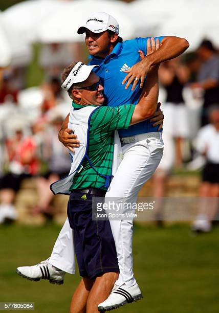 Jason Day jumps into the arms of his caddy after winning the HP Byron Nelson Championship played at TPC Las Colinas Four Season Resort in Irving, TX.