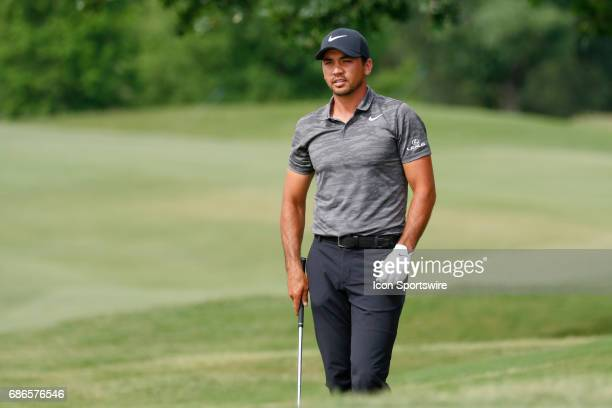 Jason Day looks on from the green side rough on during the final round of the AT&T Byron Nelson on May 21, 2017 at the TPC Four Seasons Resort in...