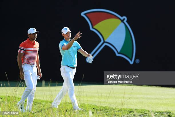 Jason Day of Australia and Martin Kaymer of Germany walk on the 18th hole during the second round of the Arnold Palmer Invitational Presented By...