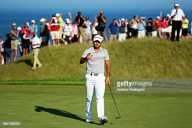 Jason Day of Australia celebrates a birdie on the 11th hole during the third round of the 2015 PGA Championship at Whistling Straits on August 15...