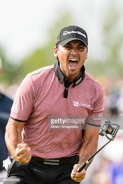 Jason Day of Australia celebrates after sinking his putt on the eighteenth hole in the final round and becomes the 2015 RBC Canadian Open champion at...
