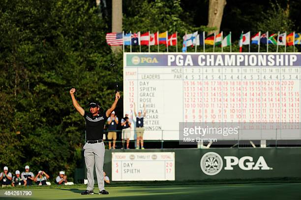 Jason Day of Australia celebrates on the 18th green after winning the 2015 PGA Championship with a score of 20under par at Whistling Straits on...