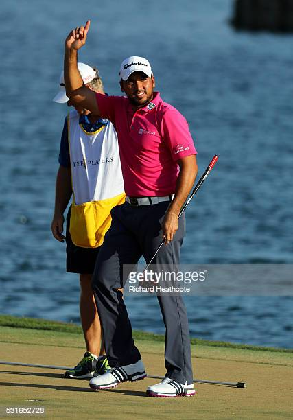 Jason Day of Australia celebrates winning during the final round of THE PLAYERS Championship at the Stadium course at TPC Sawgrass on May 15 2016 in...