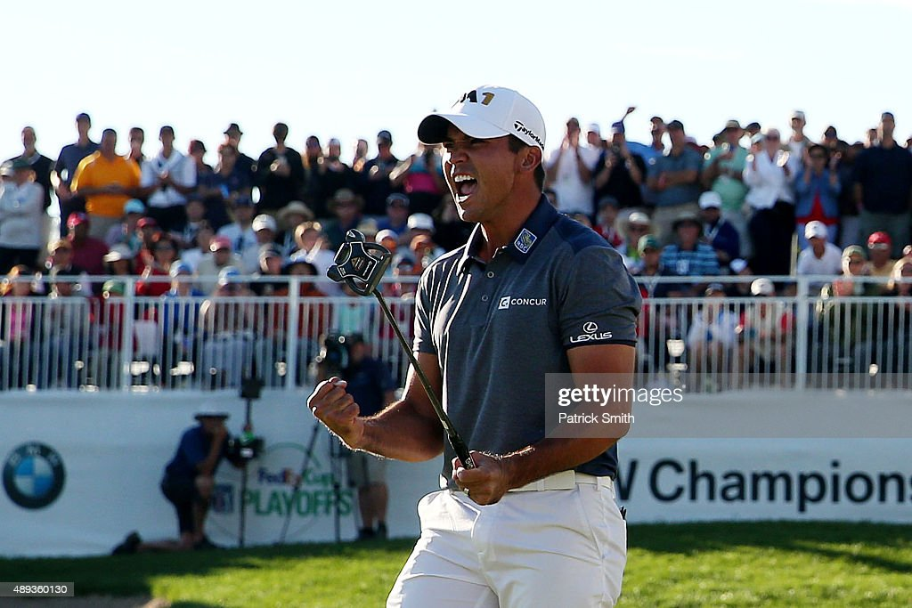Jason Day of Australia celebrates winning the Final Round of the BMW Championship at Conway Farms Golf Club on September 20, 2015 in Lake Forest, Illinois.