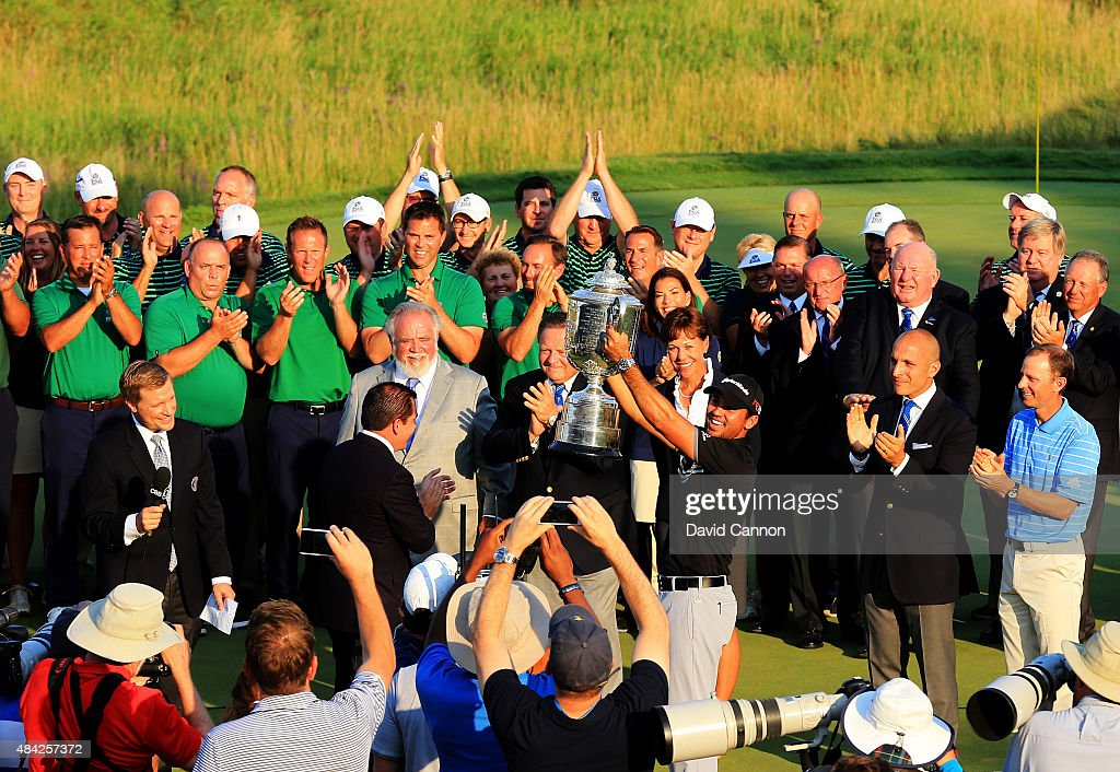 Jason Day of Australia celebrates with the Wanamaker Trophy after winning the 2015 PGA Championship with a score of 20-under par at Whistling Straits on August 16, 2015 in Sheboygan, Wisconsin.