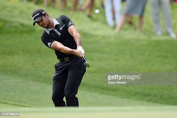 Jason Day of Australia chips in for birdie on the second green during the final round of the Arnold Palmer Invitational Presented by MasterCard at...