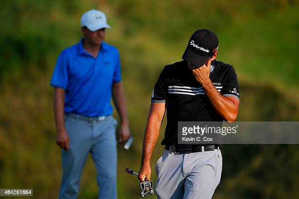 Jason Day of Australia cries on the 18th green after winning the 2015 PGA Championship with a score of 20under par at Whistling Straits on August 16...