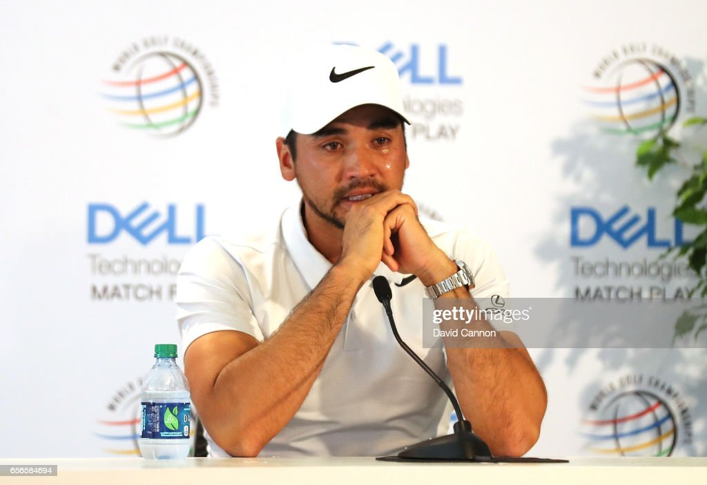 Jason Day of Australia explains to the media about his withdrawl from the event due the serious illness of his mother during the first round of the 2017 Dell Match Play at Austin Country Club on March 22, 2017 in Austin, Texas.