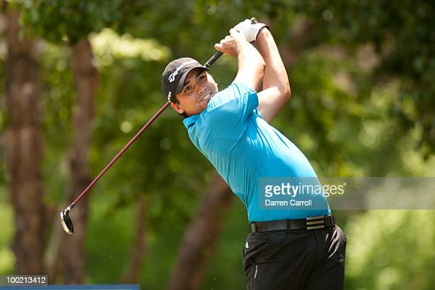 Jason Day of Australia follows through on a tee shot during the second round of the HP Byron Nelson Championship at TPC Four Seasons Resort Las...