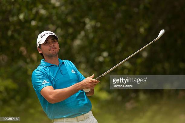 Jason Day of Australia follows through on a tee shot during the fourth round of the HP Byron Nelson Championship at TPC Four Seasons Resort Las...