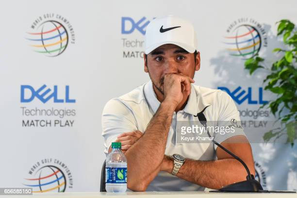 Jason Day of Australia gets emotional as he speaks to the media about his mom's cancer after withdrawing from the tournament during round one of the...