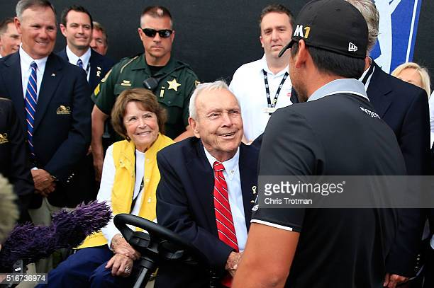 Jason Day of Australia greets Arnold Palmer following the final round of the Arnold Palmer Invitational Presented by MasterCard at Bay Hill Club and...