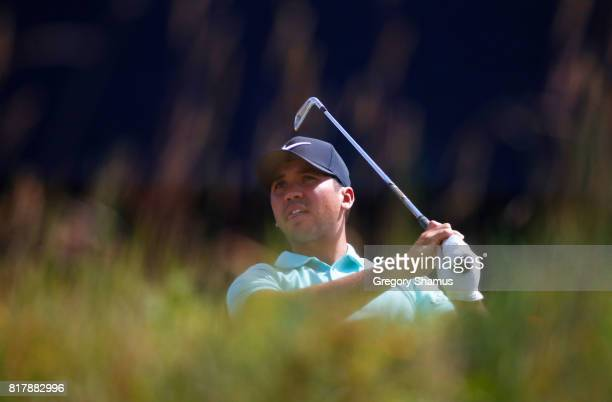 Jason Day of Australia hits a shot on the 10th hole during a practice round prior to the 146th Open Championship at Royal Birkdale on July 18, 2017...