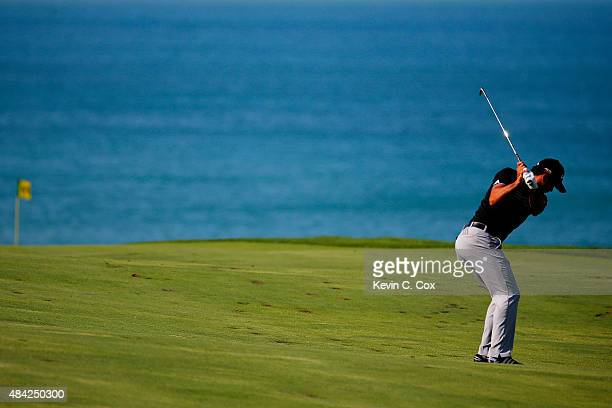 Jason Day of Australia hits a shot on the 13th hole during the final round of the 2015 PGA Championship at Whistling Straits on August 16 2015 in...