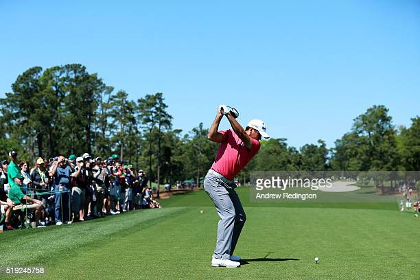 Jason Day of Australia hits a tee shot during a practice round prior to the start of the 2016 Masters Tournament at Augusta National Golf Club on...