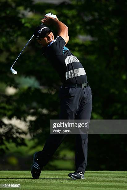 Jason Day of Australia hits a tee shot on the 14th hole during the second round of the Memorial Tournament presented by Nationwide Insurance at...