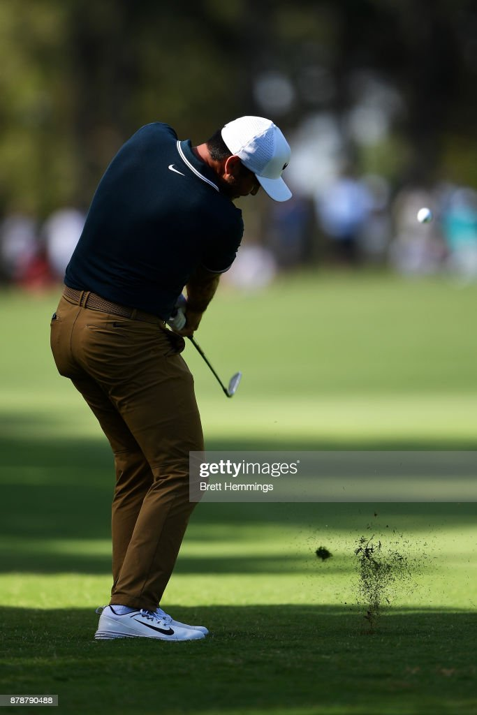Jason Day of Australia hits an approach shot on the 16th hole during day three of the 2017 Australian Golf Open at The Australian Golf Club on November 25, 2017 in Sydney, Australia.