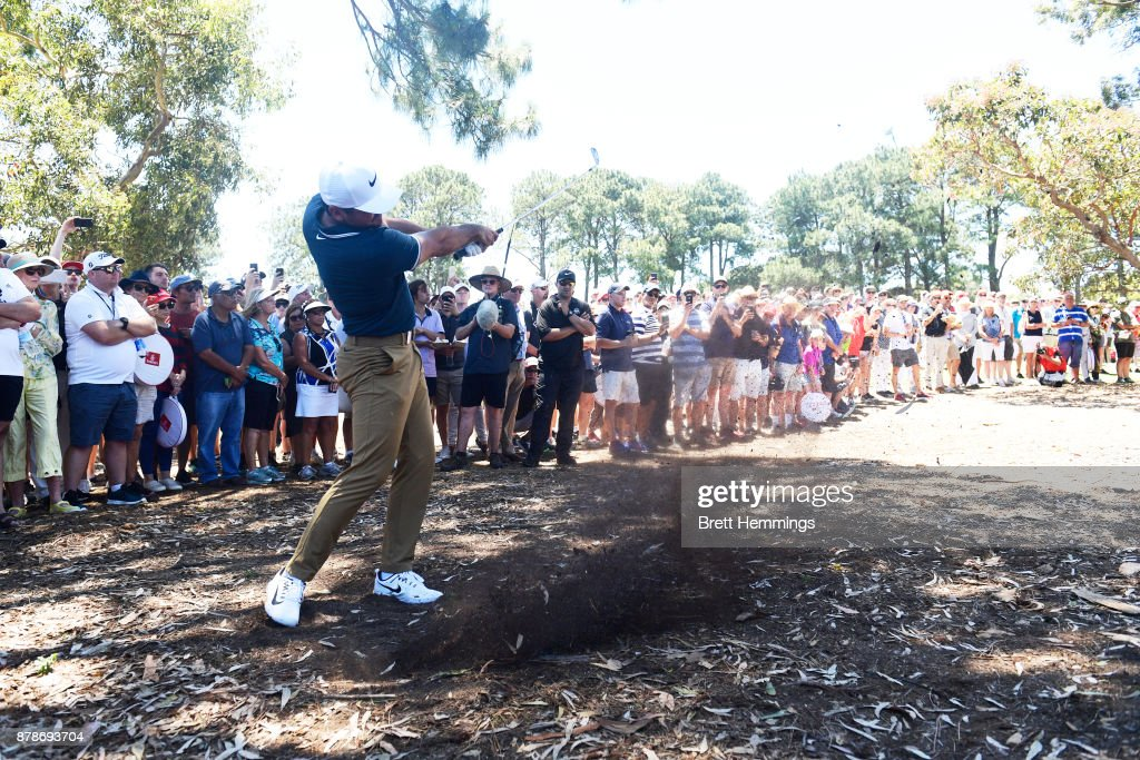Jason Day of Australia hits an approach shot on the 1st hole during day three of the 2017 Australian Golf Open at The Australian Golf Club on November 25, 2017 in Sydney, Australia.