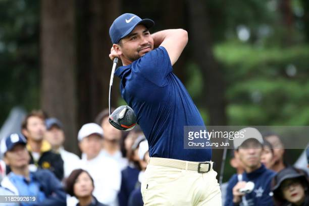 Jason Day of Australia hits his tee shot on the 11th hole during the first round of the ZOZO Championship at Accordia Golf Narashino Country Club on...