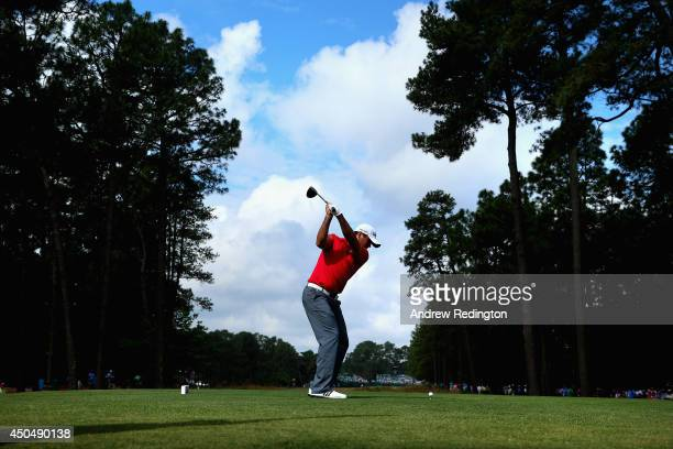 Jason Day of Australia hits his tee shot on the 11th hole during the first round of the 114th US Open at Pinehurst Resort Country Club Course No 2 on...