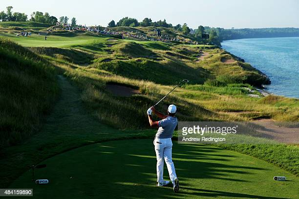 Jason Day of Australia hits his tee shot on the 13th hole during the third round of the 2015 PGA Championship at Whistling Straits on August 15, 2015...