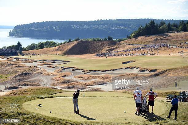 Jason Day of Australia hits his tee shot on the 14th hole during the final round of the 115th US Open Championship at Chambers Bay on June 21 2015 in...