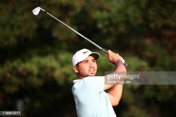 Jason Day of Australia hits his tee shot on the 3rd hole during the third round of the Zozo Championship at Accordia Golf Narashino Country Club on...