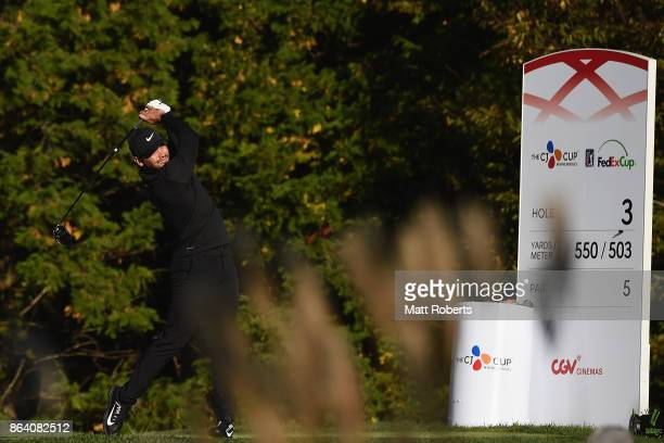 Jason Day of Australia hits his tee shot on the 3rd hole during the third round of the CJ Cup at Nine Bridges on October 21 2017 in Jeju South Korea