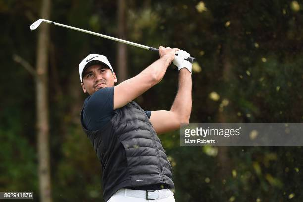 Jason Day of Australia hits his tee shot on the 7th hole during the first round of the CJ Cup at Nine Bridges on October 19 2017 in Jeju South Korea