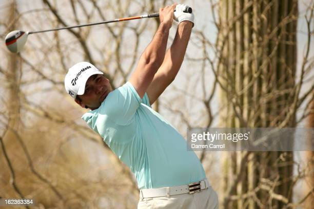 Jason Day of Australia hits his tee shot on the eighth hole during the second round of the World Golf Championships Accenture Match Play at the Golf...