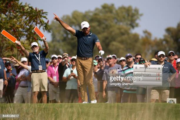 Jason Day of Australia hits his tee shot on the eighth hole during the third round of the BMW Championship at Conway Farms Golf Club on September 16...