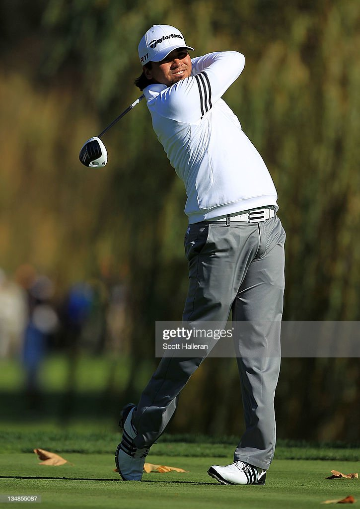 Jason Day of Australia hits his tee shot on the fifth hole during the third round of the Chevron World Challenge at Sherwood Country Club on December 3, 2011 in Thousand Oaks, California.