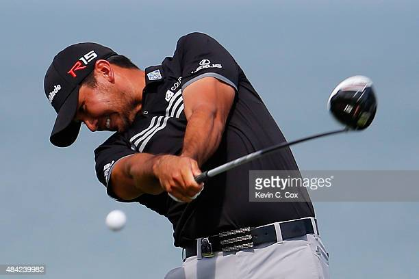 Jason Day of Australia hits his tee shot on the fourth hole during the final round of the 2015 PGA Championship at Whistling Straits on August 16...
