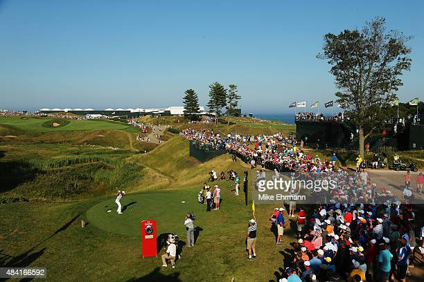 Jason Day of Australia hits his tee shot on the tenth hole during the third round of the 2015 PGA Championship at Whistling Straits at on August 15,...